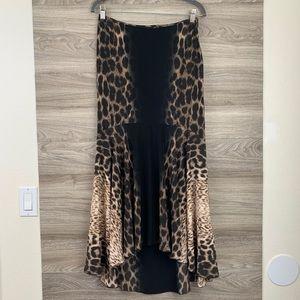 Just Cavalli leopard high low tulip maxi skirt
